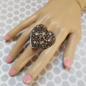 Fun Rhinestone Beaded Adjustable Heart Ring NWT